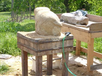 Stone sculpture workspace in the garden