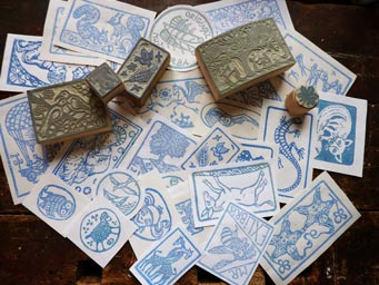 Various linocut stamps